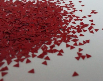 solvent-resistant glitter shapes-deep red triangles