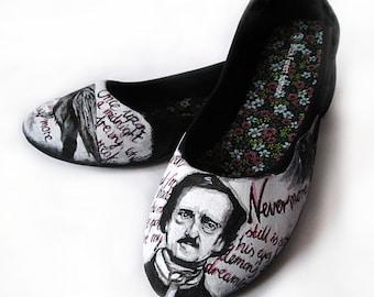 Handpainted ballerinas Edgar Alan Poe The Raven, custom flats, ballerinas, handpainted slip ons