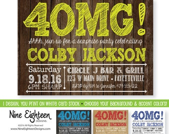 40th Birthday Invitation for Surprise Party. 4OMG design. Custom Printable PDF/JPG. Choose your colors.