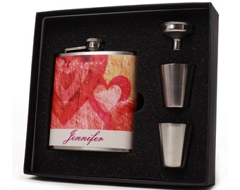 Bridesmaid Gift // Six Personalized Flask Gift Sets for your Bridesmaids