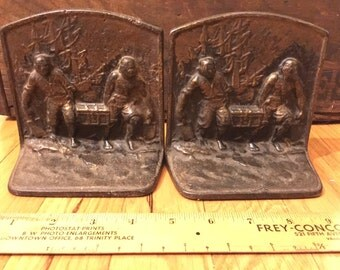 Cast Iron Pirates with Chest Bookends labeled 1921 marked L