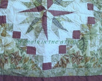 Vintage Quilted Pillow Shams (Set of 2 Matching Pillow Shams) Green, Brown, and Ivory Botanical with Star Centers