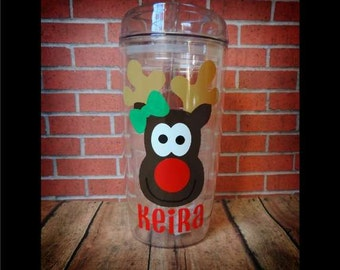 Personalized Reindeer Tumbler, Custom Christmas Cup, Kids Christmas Cup, Monogram Christmas Tumbler