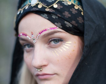 Black Cotton Hoodscarf/Turban
