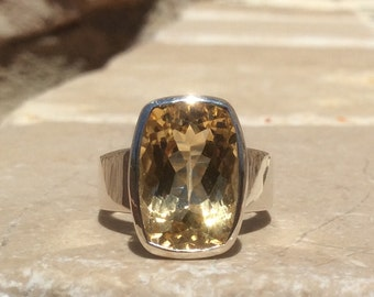Gemstone Statement Ring, Citrine Silver Ring, Rectangle Stone Ring, Gemstone Silver Ring, Gift for Her