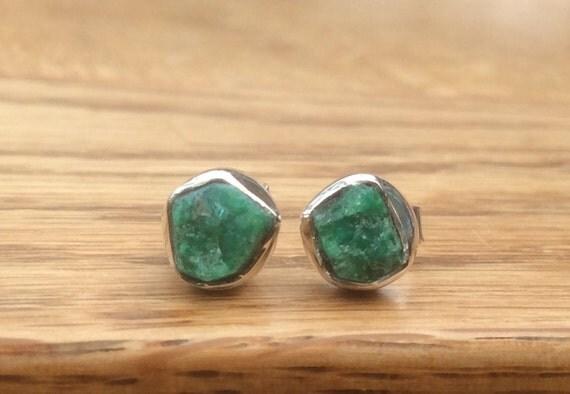 Raw Stone Studs Raw Emerald Sterling Silver Stud Earrings