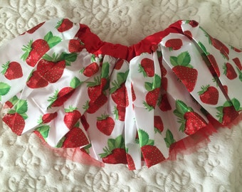 Strawberry Satin Tutu Size 6 months to 3T