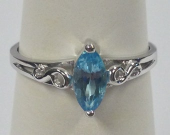 Natural Blue Topaz Stone Ring 925 Sterling Silver