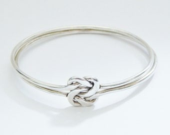 Sterling Silver Love Friendship Knot Bracelet With 2 Interlocking Bangles