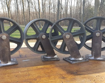 8 inch vintage style patina casters.