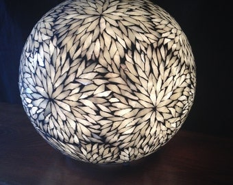 To order. Light ivory ball covered with tiffany glass tiles