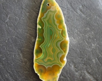 Yellow and Green Banded Agate Gemstone Pendant - 30mm x 75mm