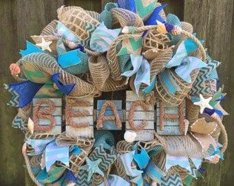 Beach Wreath,Nautical Decor,Coastal Wreath, Nautical Wreath,Beach House, Beach Wedding,Wedding Gift,Coastal Decor, Shell Wreath,Coastal