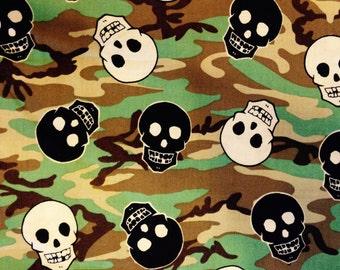 CAMOUFLAGE SKULLS Fabric - Camo - Skull - Biker - Skateboard - Pirates - Quilting - Sewing - Kids - Home Decor