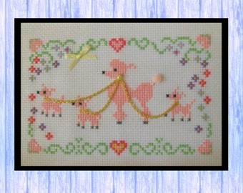 Pink Poodle Parade, Original Cross Stitch Chart, Instant PDF Download