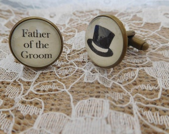 Handcrafted Father of the Groom Cuff links - Excellent Father of the Groom gifts, wedding cufflinks - Free UK Shipping