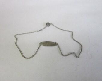 Vintage Sterling Silver Ankle ID Bracelet Not Engraved
