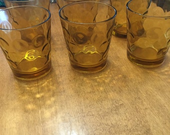 Vintage Amber Brown Thumbprint Glasses Set of 6