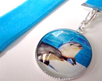 Aqua BlueVelvet Ribbon Bookmark w/Dolphin Cabochon