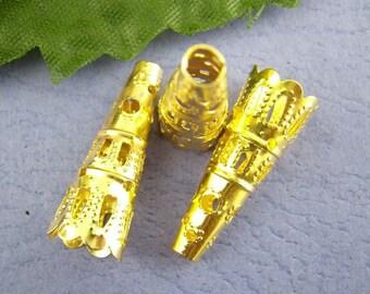 20 - Gold Filigree Bead Cones
