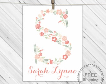 Baby girls floral monogram print, coral and sage green nursery, cottage chic wall decor baby name art, flower initial wall art, boho nursery