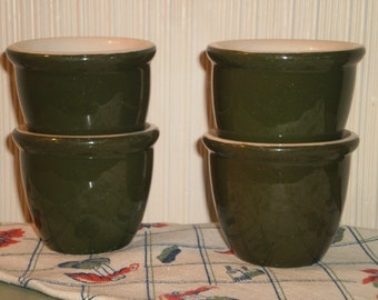 Four Hall Custard Cups Olive Green Hotel China