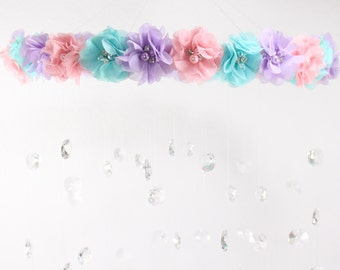 Crystal Baby Mobile, Pink Baby Mobile, Flower Baby Mobile, Lavender Mobile,  Baby Mobile