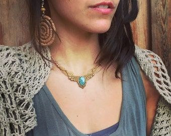 Jade necklace Gentle gold vibes, magical fine necklace with brass beads necklace YOGA jewelry, feminine ,Boho Chic ,gipsy bohemian