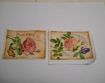 2 Handpainted Fabric Iron on Cards...Shabby Chic...