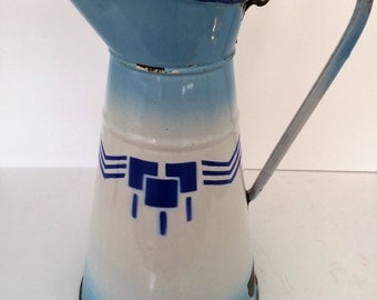 Large French Enamelware Blue Pitcher