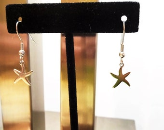 STAINLESS STEEL STARFISH dangle earrings - all surgical stainless steel - non allergenic hypoallergenic, sensitive ears - will not tarnish