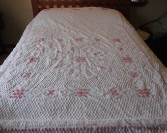 FREE US shipping - Pink and White Chenille Bedspread