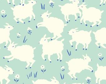 Farm animals fabric - Birch Fabrics organic cotton Lamb mint fabric