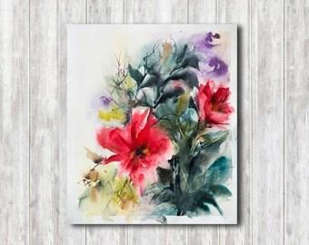 Original Watercolor Painting, Abstract Modern Painting, Watercolour Art, Floral Watercolor