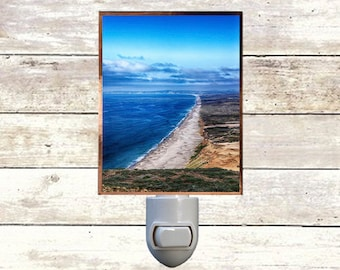 """Night Light ,""""Looking North"""", Point Reyes National Seashore, Handmade, Copper Foiled"""