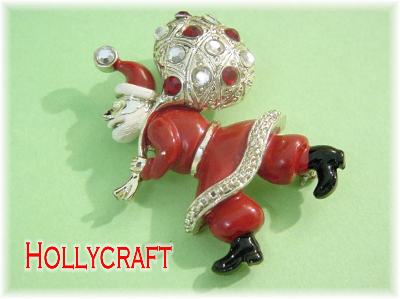 Hollycraft santa claus rhinestone enamel signed brooch pin