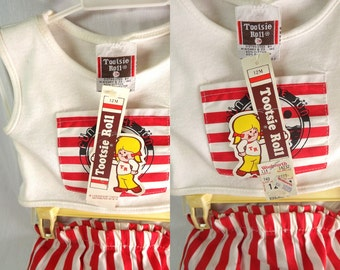 """Vintage Woolworths Tootsie Roll Brand Infant Summer Shirt, Pants, """"Fun in the Sun Club"""" 12 Months, New Old Stock, Red and White"""