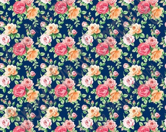 Rose floral craft  vinyl sheet - HTV or Adhesive Vinyl -  with navy background flower pattern vinyl  HTV2231