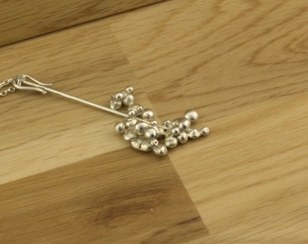 Sterling silver nuggets on sterling silver wire pendant necklace