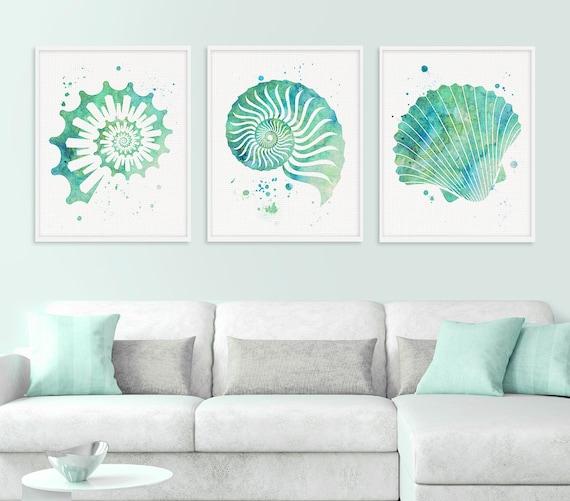 Seashell Wall Art, Watercolor Seashell, Nautical Wall Art, Nautical Decor, Beach Wall Art, Coastal Decor, Sea Life, Seafoam Green, Seashells