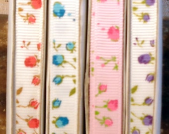 "2 Yards 3/8"" Delicate Rose Print Grosgrain Ribbon - Choice of Color"