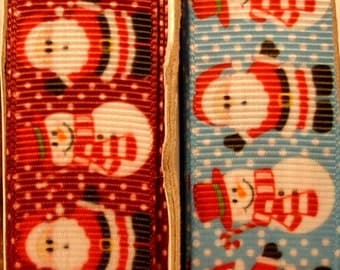 "2 Yards 7/8"" Christmas - Holiday Snowman and Santa Grosgrain Ribbon Print - Your Choice of Red or Blue"