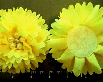 """1 Each 4"""" Sunny Yellow Ballerina Fabric Flower with a Faux Pearl and Rhinestone Center - Hair Bow Embellishment"""