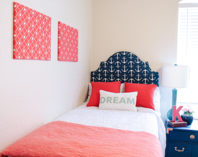 Dorm Twin Headboard, Solid or Printed Fabric, Navy Collection