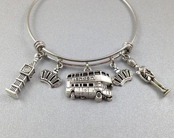 London Charm Bangle, London Charm Bracelet, England Charm Bracelet, Big Ben Charm, Double Decker Bus, Queen's Guard, Crown Charm