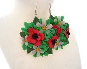 Garden Earrings,Polymer Clay Jewelry, Flower Earrings, Long Earrings, Dangle Earrings
