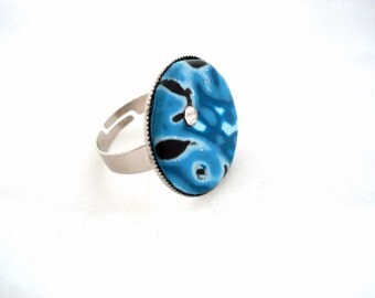 SALE Polymer clay Jewelry Fimo jewelry Blue adjustable ring
