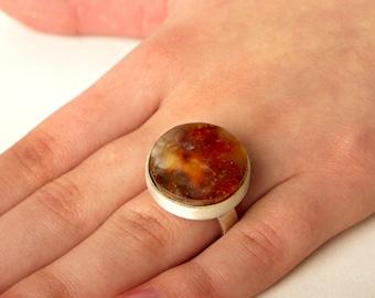 WEDDING amber ring / honey amber ring