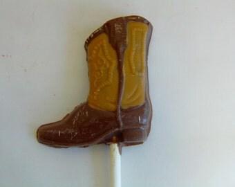 Cowboy/Cowgirl Boot Chocolate Candy Lollipop (12)- Western Theme Birthday or Wedding/Rodeo/4-H/Pony Club/Shabby Chic