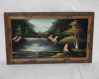 Vintage original oil painting on velvet signed titled framed landscape waterfall